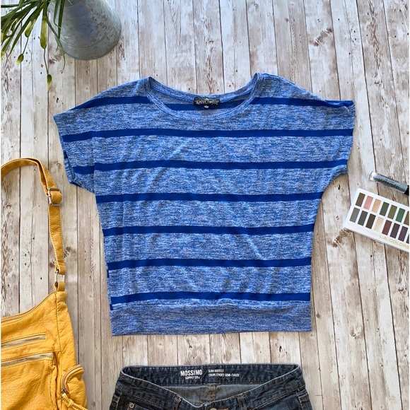 Almost Famous blue striped batwing tee